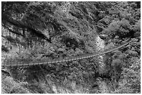 Suspension footbridge, Taroko Gorge. Taroko National Park, Taiwan (black and white)