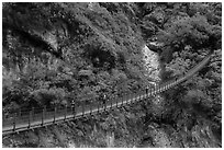 Suspension bridge with hikers. Taroko National Park, Taiwan ( black and white)