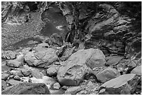 Boulders, marbled gorge walls, and Liwu River. Taroko National Park, Taiwan ( black and white)