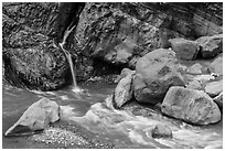 Waterfall and stream, Taroko Gorge. Taroko National Park, Taiwan ( black and white)