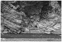 Marble cliff and Liwu River, Taroko Gorge. Taroko National Park, Taiwan ( black and white)