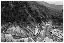 Gorge and Orchid Pavillion, Taroko Gorge. Taroko National Park, Taiwan ( black and white)