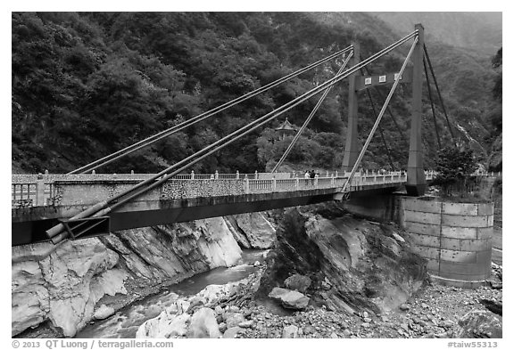 Cimu Bridge(Motherly Devotion Bridge), Taroko Gorge. Taroko National Park, Taiwan (black and white)