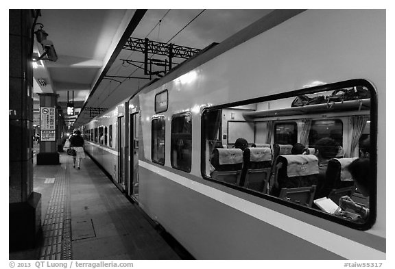 Train, Hualien Station. Taiwan (black and white)
