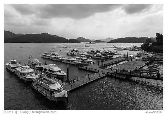 Shueishe Pier, afternoon. Sun Moon Lake, Taiwan (black and white)