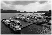 Shueishe Pier, afternoon. Sun Moon Lake, Taiwan ( black and white)