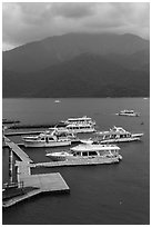 Tour boats. Sun Moon Lake, Taiwan ( black and white)