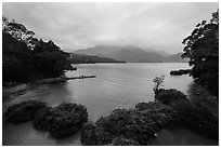 Cove with floating rafts on which plants are being grown. Sun Moon Lake, Taiwan ( black and white)