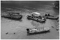Boats and fishermen. Sun Moon Lake, Taiwan ( black and white)