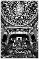Ceiling and altar in gate, Wen Wu temple. Sun Moon Lake, Taiwan ( black and white)