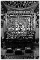 Altar in main hall, Wen Wu temple. Sun Moon Lake, Taiwan ( black and white)
