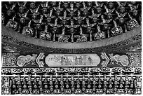 Detail of gilded ceiling and wall, Wen Wu temple. Sun Moon Lake, Taiwan ( black and white)