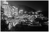 Harbor and waterfront at night, Shueishe Village. Sun Moon Lake, Taiwan ( black and white)