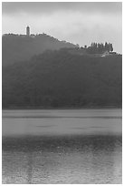 Syuanzang Temple and Tsen Pagoda in dawn mist. Sun Moon Lake, Taiwan ( black and white)
