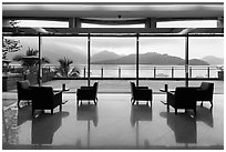 Lakeside hotel lobby. Sun Moon Lake, Taiwan (black and white)