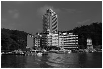 Shueishe Village seen from the lake. Sun Moon Lake, Taiwan ( black and white)