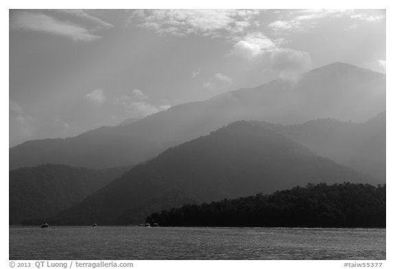 Mountain ridges. Sun Moon Lake, Taiwan (black and white)