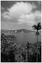 Palms, lake and cloud. Sun Moon Lake, Taiwan (black and white)
