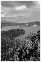 Shueishe Village across lake. Sun Moon Lake, Taiwan (black and white)