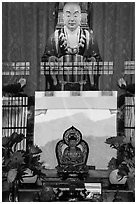 Buddha statues and reflections. Sun Moon Lake, Taiwan (black and white)
