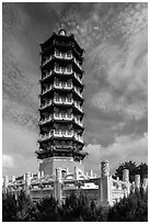 Tsen Pagoda tower. Sun Moon Lake, Taiwan (black and white)