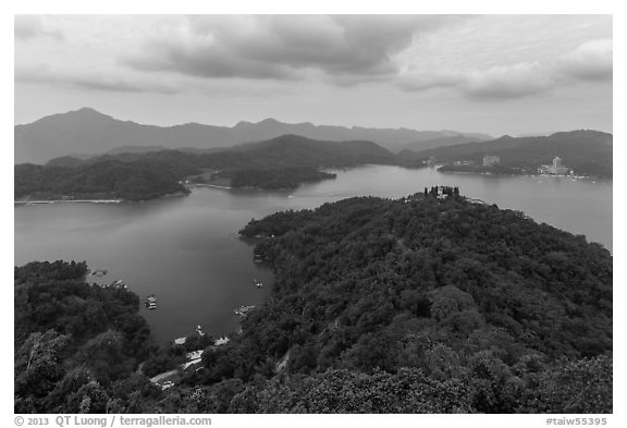 Lake seen from Tsen Pagoda. Sun Moon Lake, Taiwan (black and white)