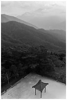 Pavilion from above and misty mountains, Tsen Pagoda. Sun Moon Lake, Taiwan ( black and white)