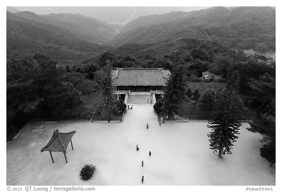 Grounds of Tsen Pagoda seen from the tower. Sun Moon Lake, Taiwan (black and white)