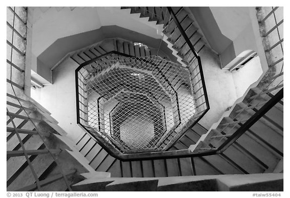 Staircase inside Tsen Pagoda tower. Sun Moon Lake, Taiwan (black and white)