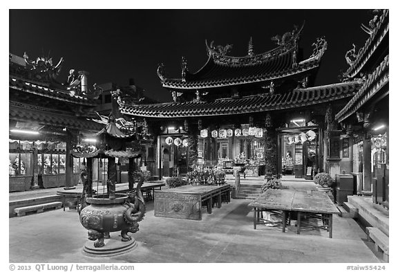 Courtyard, Tienhou (Matzu) Taoist Temple at night. Lukang, Taiwan (black and white)