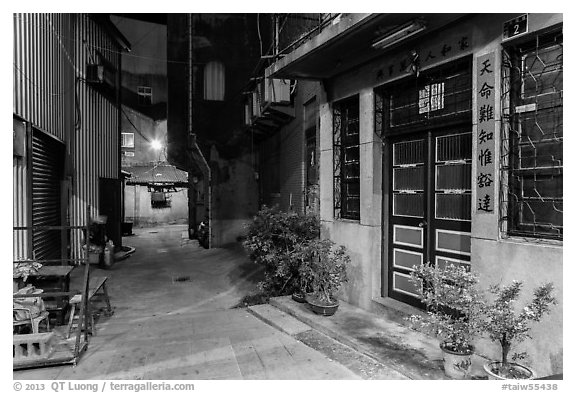 Nine-turns lane at night. Lukang, Taiwan (black and white)