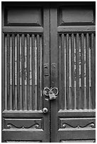 Door and paddlock. Lukang, Taiwan ( black and white)