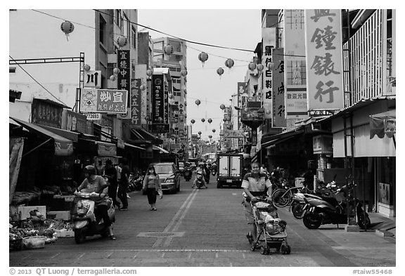 Street with paper lanterns. Lukang, Taiwan (black and white)