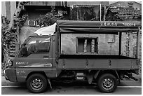 Truck and house. Lukang, Taiwan (black and white)