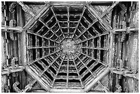 Intricate wooden plafond ceiling, Longshan Temple. Lukang, Taiwan (black and white)