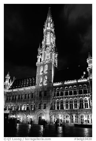 Town hall, Grand Place, dusk. Brussels, Belgium (black and white)