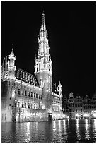Town hall, Grand Place, night. Brussels, Belgium (black and white)