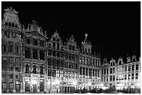 Guildhalls at night, Grand Place. Brussels, Belgium (black and white)