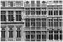 Detail of guild house facades. Brussels, Belgium (black and white)