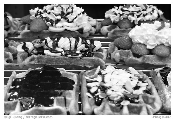 Belgian waffles with a variety of toppings. Brussels, Belgium (black and white)
