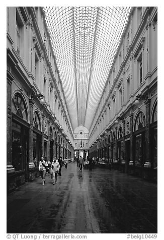 Galeries St Hubert, Europe's first shopping arcade, built in 1846. Brussels, Belgium (black and white)