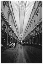 Galeries St Hubert, Europe's first shopping arcade, built in 1846. Brussels, Belgium ( black and white)