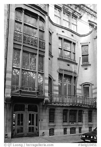 Hotel Solvay, an Art Nouveau masterpiece. Brussels, Belgium (black and white)