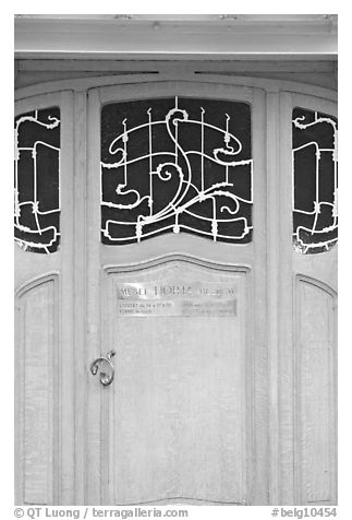 Door of Horta Museum in Art Nouveau style. Brussels, Belgium (black and white)