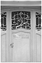 Door of Horta Museum in Art Nouveau style. Brussels, Belgium ( black and white)
