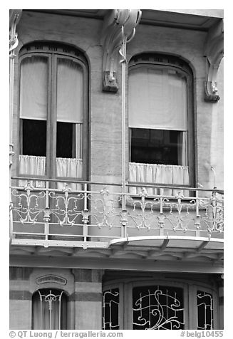 Balcony of Horta Museum in Art Nouveau style. Brussels, Belgium (black and white)