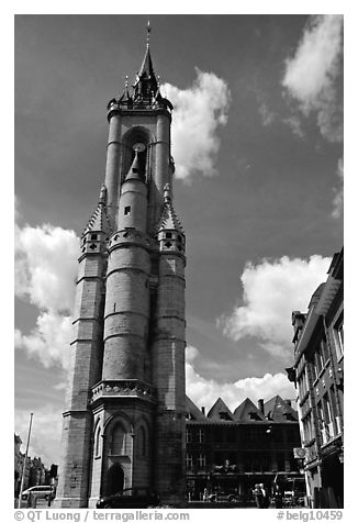 Beffroi, the oldest in the country. Tournai, Belgium (black and white)