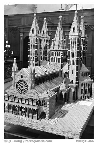 Model of Notre Dame Cathedral. Tournai, Belgium (black and white)