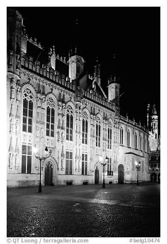 The Burg by night. Bruges, Belgium (black and white)