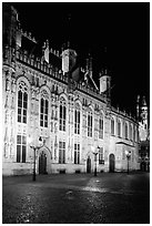 The Burg by night. Bruges, Belgium ( black and white)